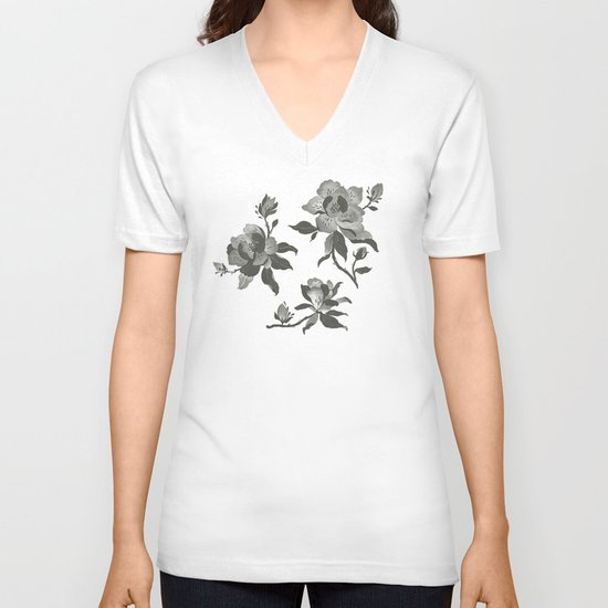 Black Magnolia Pattern V-neck T-shirt