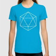 Icosahedron Pattern Blac… Womens Fitted Tee Teal SMALL