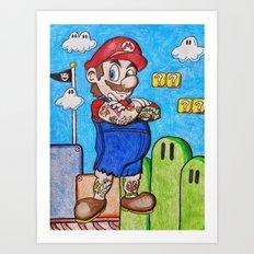 Tattooed Mario Art Print