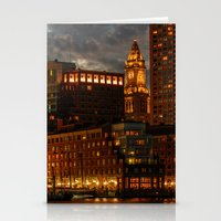 Night at Boston Harbor Stationery Cards