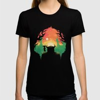 Sunset with a friend Womens Fitted Tee Black SMALL