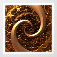 Golden Spirals Art Print