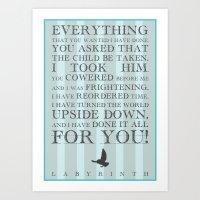 Labyrinth Jareth Movie Quote Art Print