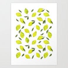 Lemons on white Art Print
