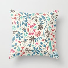 Retro Blooms Throw Pillow