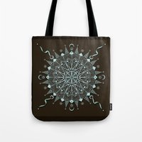 Aqua Leaf Star Mandala Tote Bag