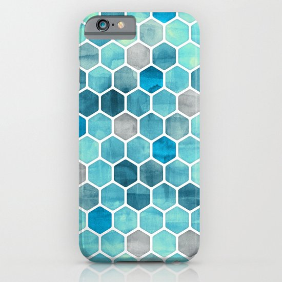 Blue Ink - watercolor hexagon pattern iPhone & iPod Case