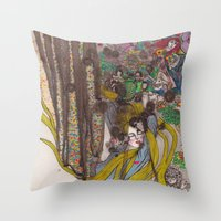 Alice in Wonderland - Strange Dreams / Original A4 Illustration / Ink & Watercolor Throw Pillow