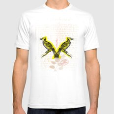 Two Birds White Mens Fitted Tee SMALL