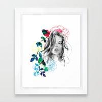 Kristen fashion watercolor portrait Framed Art Print