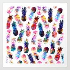 watercolor and nebula pineapples illustration pattern Art Print