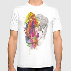 Breathe In Colour White SMALL Mens Fitted Tee