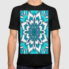 Mandala Flower : Turquoise Blue  Mens Fitted Tee Tri-Black SMALL