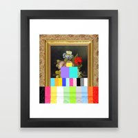 A Painting of Flowers With Color Bars Framed Art Print