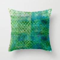 Green Triangles On Blue Throw Pillow