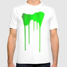 Green Splatter SMALL White Mens Fitted Tee