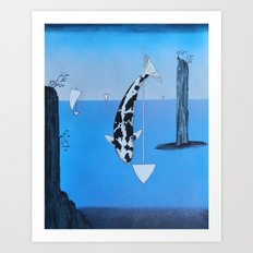 Japanese Koi Bekko At Bo-No-Ura Art Print