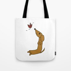 Dachshund With Autumn Leaf Tote Bag