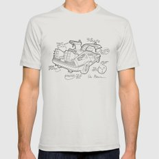 Time Machine Blueprint Mens Fitted Tee Silver SMALL