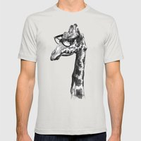 Short-Sighted Giraffe Mens Fitted Tee Silver SMALL