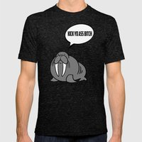 Angry Walrus Mens Fitted Tee Tri-Black SMALL