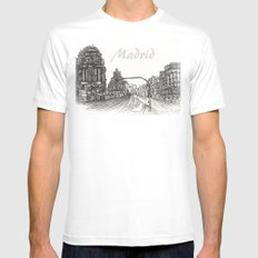 Gran Vía, Madrid Mens Fitted Tee White SMALL