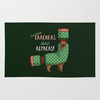Christmas Crackers About Alpacas! Rug