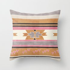 Rustic Tribal Pattern in Raw Sienna, Strawberry and Ash Throw Pillow