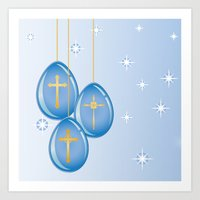 Shiny blue hanging eggs decorated with gold crosses Art Print