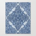 Denim Blue Lace Pencil Doodle Canvas Print