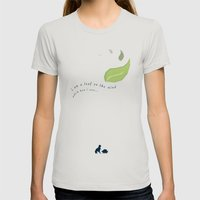 Leaf On The Wind Womens Fitted Tee Silver SMALL