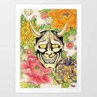 Japanese Hannya Mask Art Print
