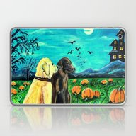 Dogs In Pumpkin Patch Laptop & iPad Skin