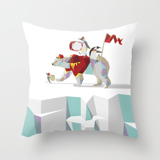 Private Penguin's Polar Percussion Throw Pillow