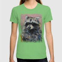Raccoon Womens Fitted Tee Grass SMALL