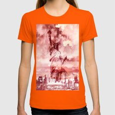 The Statue Of Liberty Womens Fitted Tee Orange SMALL