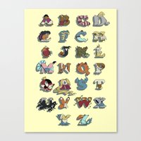 Canvas Print featuring The Disney Alphabet by Peach Momoko