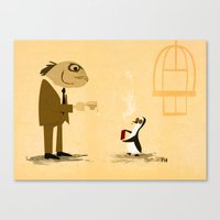 Fishface And The Blue Pe… Canvas Print