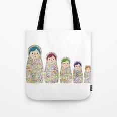 Rainbow Matryoshka Nesting Dolls Tote Bag