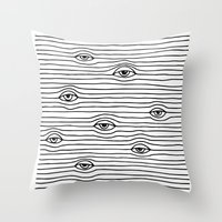 PEEPING TOM [BLK & WHT] Throw Pillow