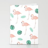 Hand painted pastel  pink flamingo tropical leaf watercolor pattern Stationery Cards