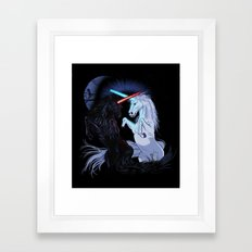 Starwars with unicorns (black) Framed Art Print