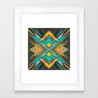 Teal And Orange Geometri… Framed Art Print