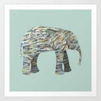 Elephant Paper Collage I… Art Print