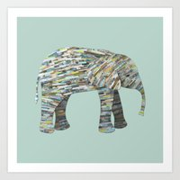 Elephant Paper Collage in Gray, Aqua and Seafoam Art Print