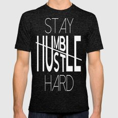 Stay Humble Hustle Hard Mens Fitted Tee Tri-Black SMALL