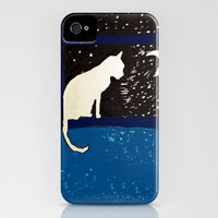 iPhone 4s & iPhone 4 Cases featuring White Cat at Night by Brontosaurus