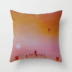 LANDSCAPE-Boy with kite and dog Throw Pillow