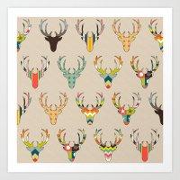 Retro Deer Head On Linen Art Print