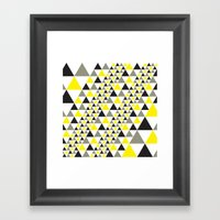 Black & Yellow equilateral triangles pattern Framed Art Print